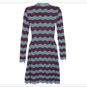 Alexa Chung purple and gray scallop dress